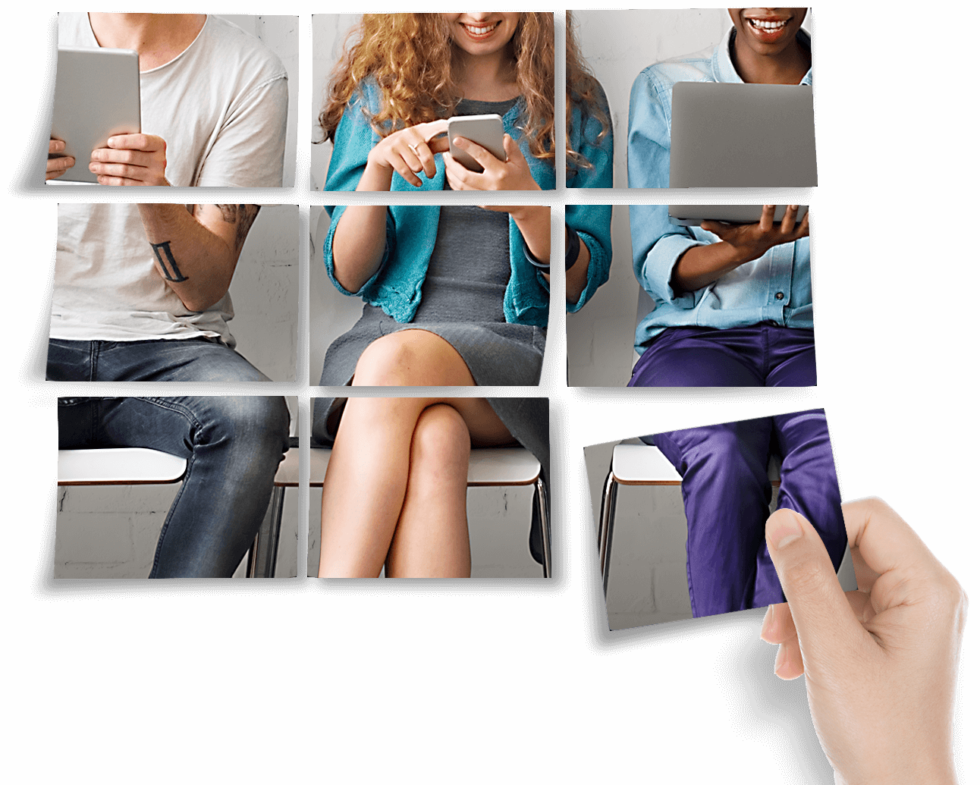 Employment Agency - Three people sit in a room on different electronic devices