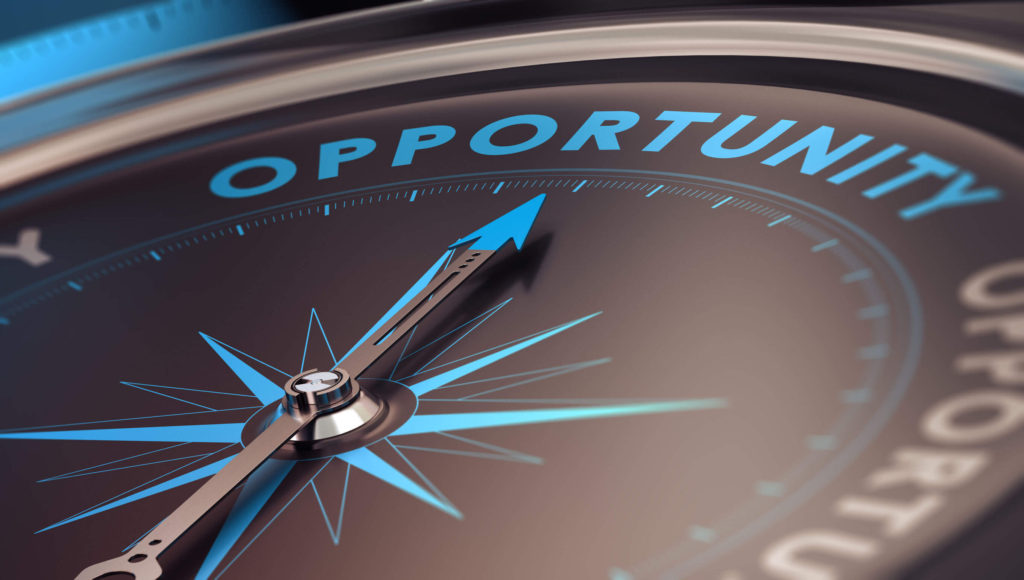 Industries Staffing Agency - A compass pointing to the word Opportunity instead of North